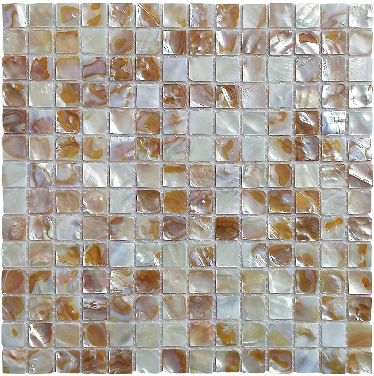 A18023 - 6-Pack Mother of Pearl Shell Tile for Kitchen Backsplashes / Shower Wall, 12