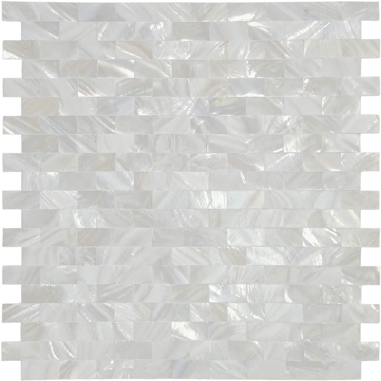 White MOP Shell Mosaic Tile for Kitchen Backsplashes, Set of 10