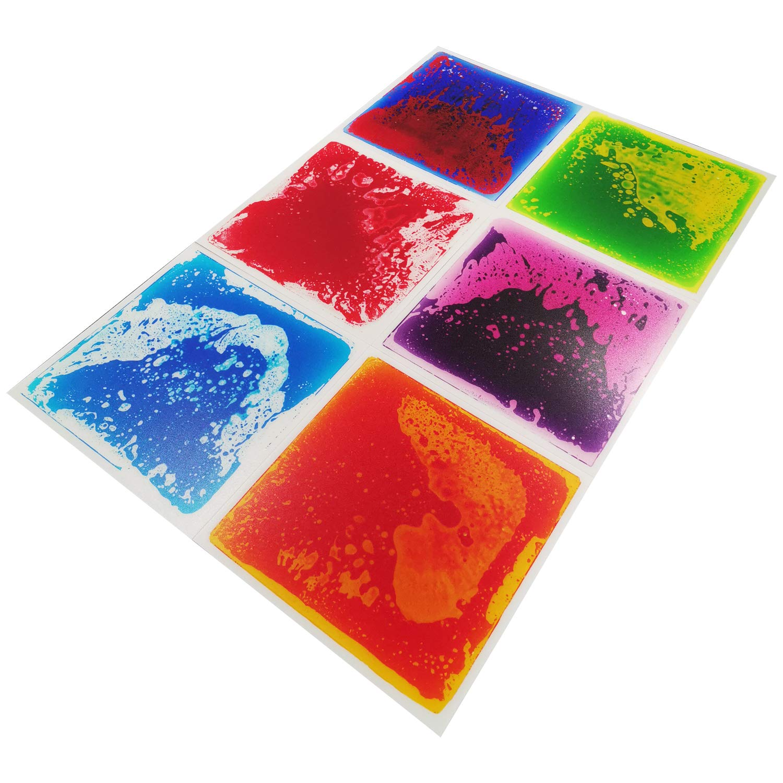 A11000 - Multi-Color Exercise Mat Liquid Encased Fancy Playmat Kids Play Floor Tile, Set of 6