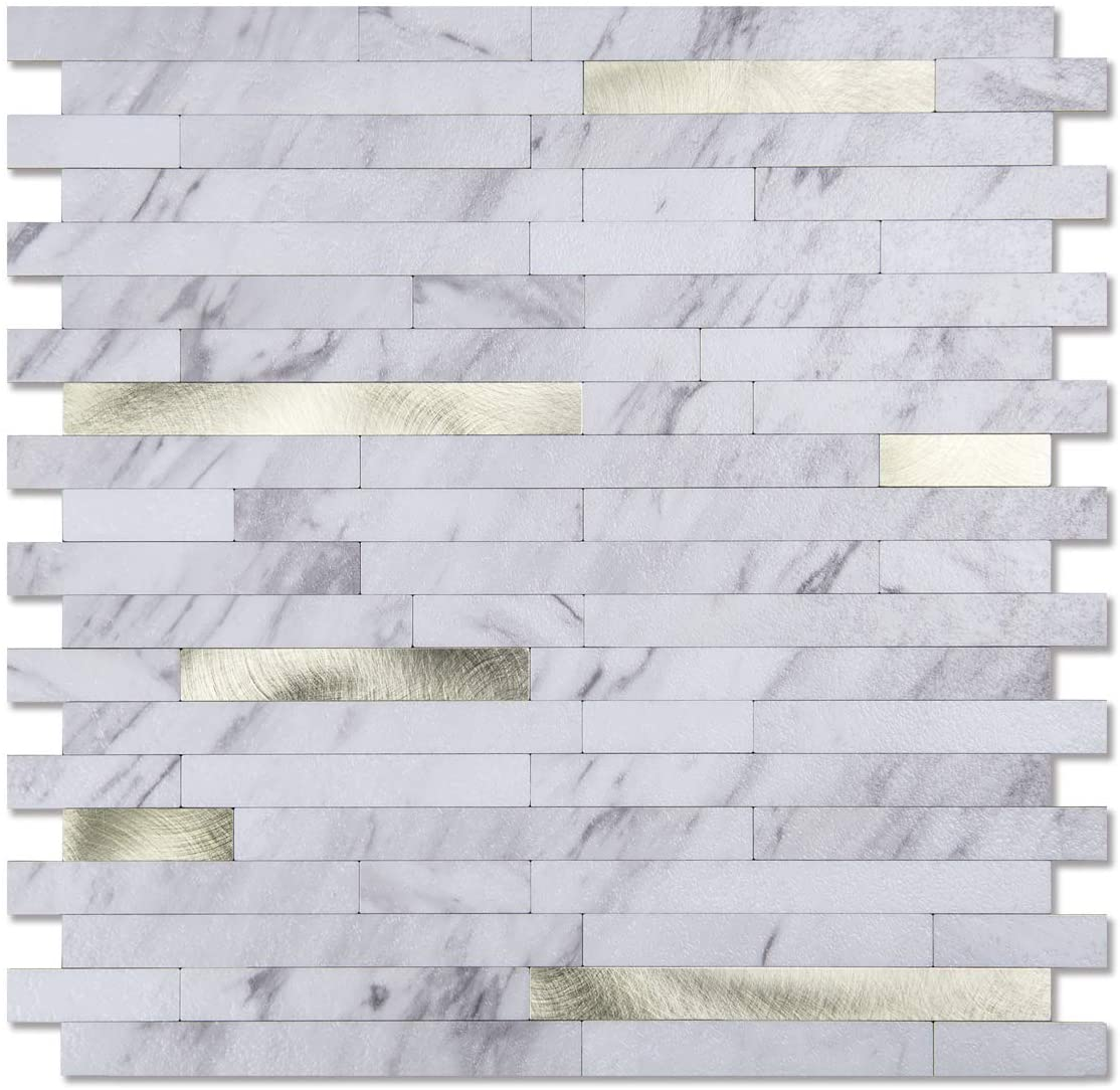 A16612-Art3d 10-Sheet Peel and Stick Stone Backsplash Tile for Kitchen, Bathroom - Volakas White Embellished with Metal Silver
