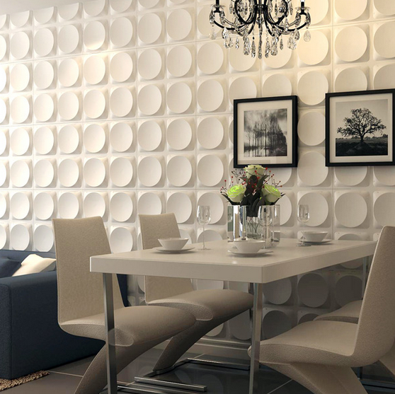 A10017f - Modern 3D White Wall Panels, Moon Surface Design, 12 Tiles 32 SF