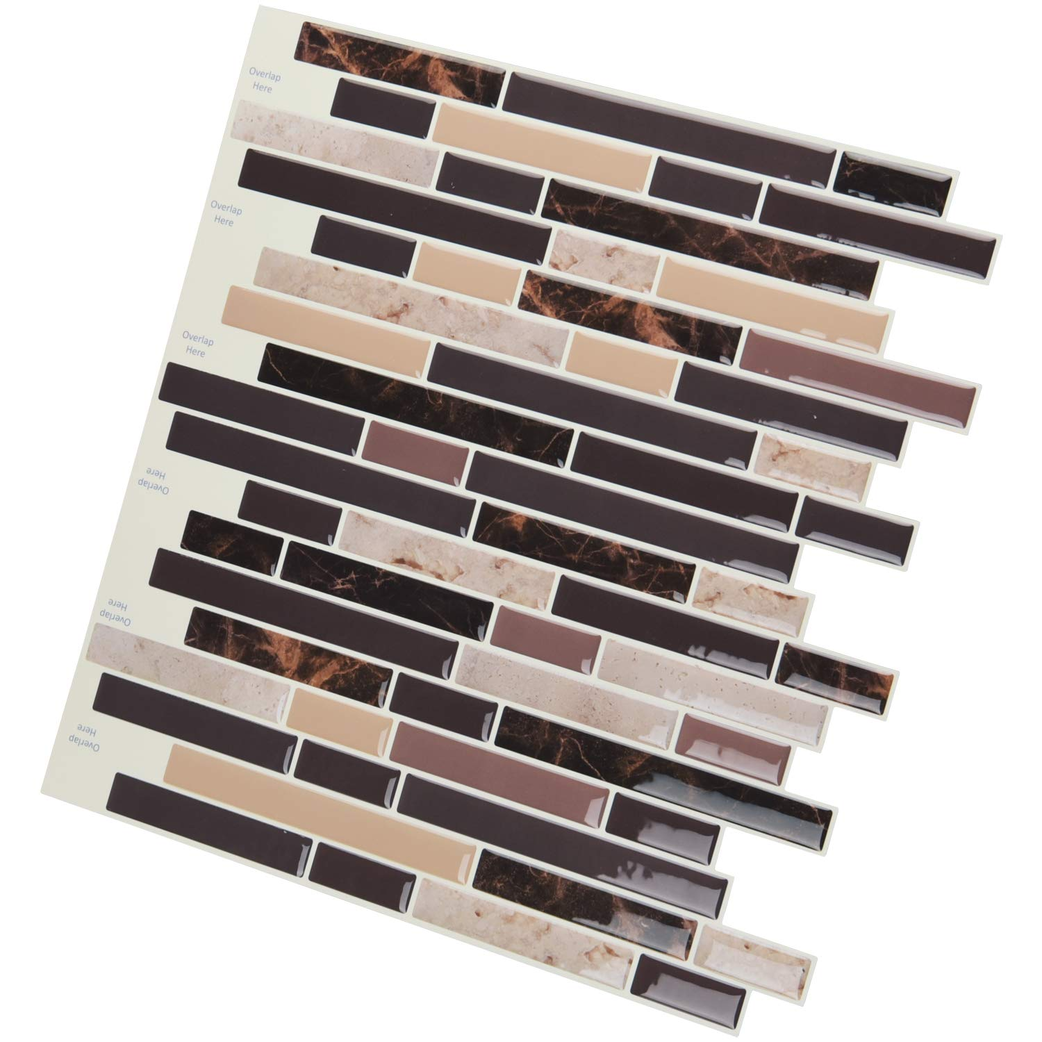A17039 - Peel and Stick on Wall Tiles for Kitchen Backsplash, Set of 10