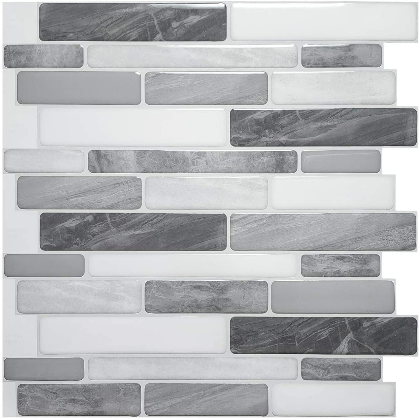 Art3d 10-Sheet Self-Adhesive Tile Backsplash for Kitchen, Vinyl Decorative Tiles