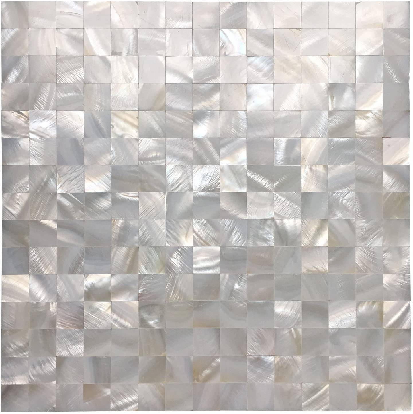 A18691 - Mother of Pearl Shell White Square Seamless Mosaic Tile, 12