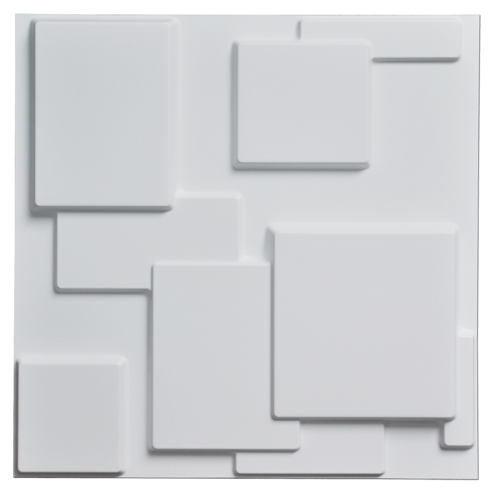 Decorative tiles 3d wall panels white squares 12 tiles 32 sf for 3d wall decoration panel