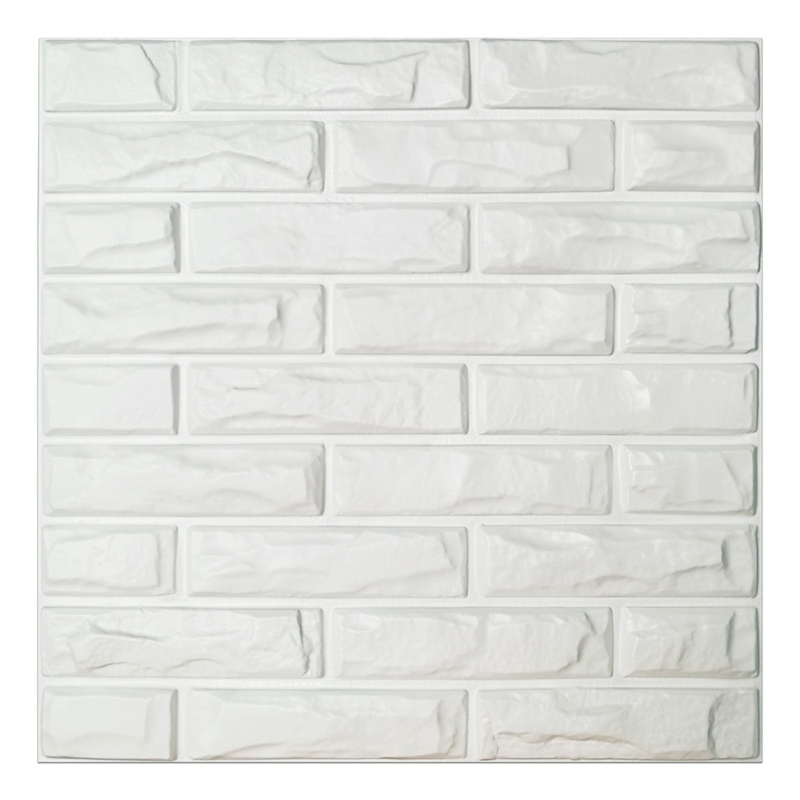 A10039 - PVC 3D Wall Panels White Brick Wall Tiles, 19.7