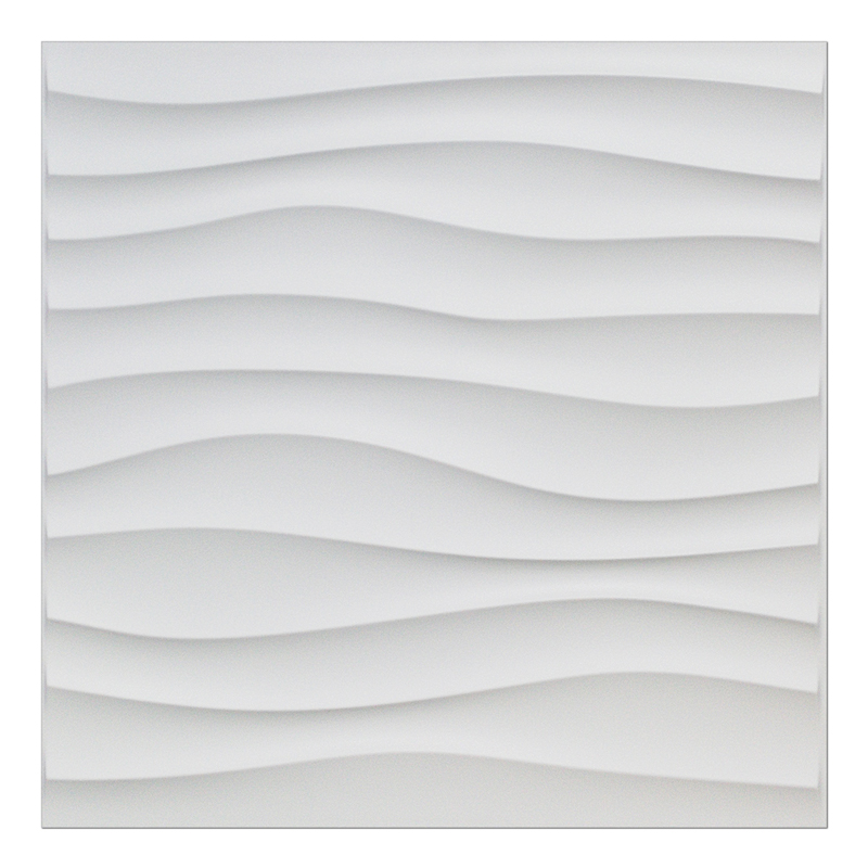 A10040 - Plastic 3D Wall Panel PVC Wave Wall Design, White, 12 Tiles 32 SF