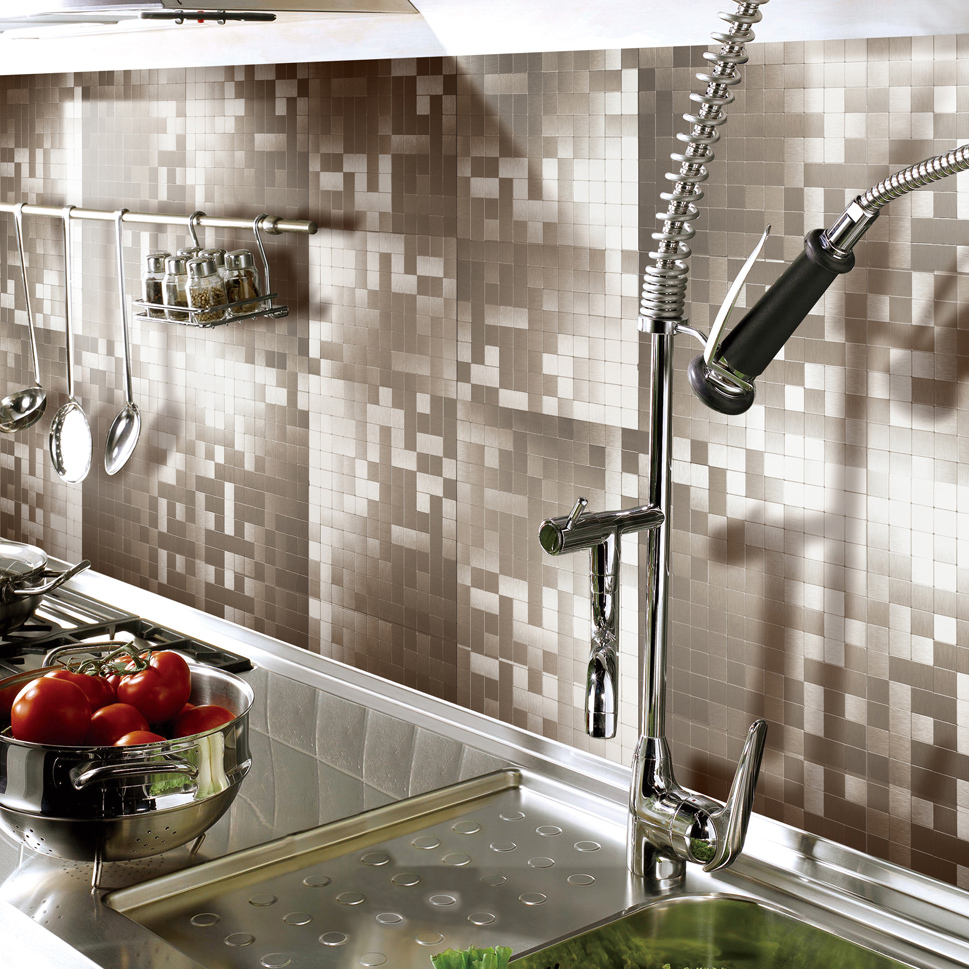 peel & stick metal tiles for kitchen backsplashes, copper brushed