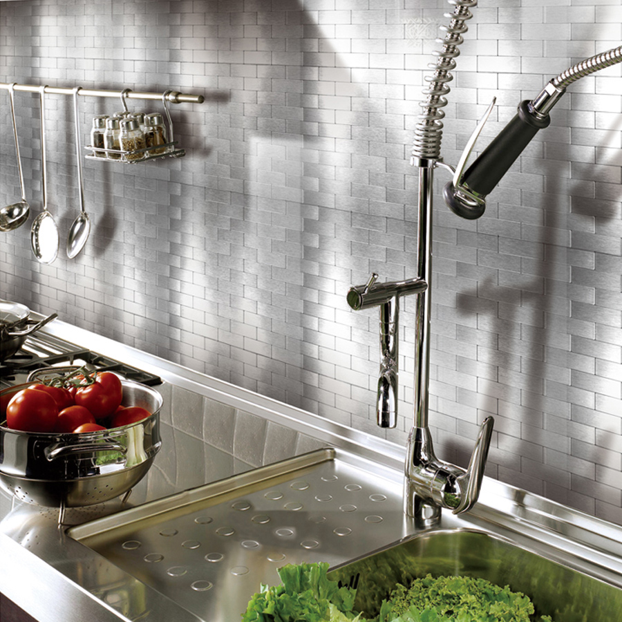 Pleasing A16002 Peel And Stick Metal Backsplash Tile For Kitchen 12 X 12 Silver Beutiful Home Inspiration Truamahrainfo