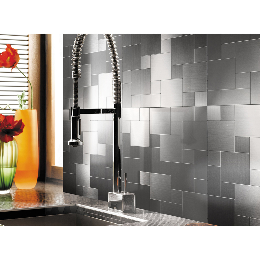 - Peel And Stick Metal Mosiac Sheets For Backsplash 12in X 12in 10 Tiles 9.7  Sq.ft