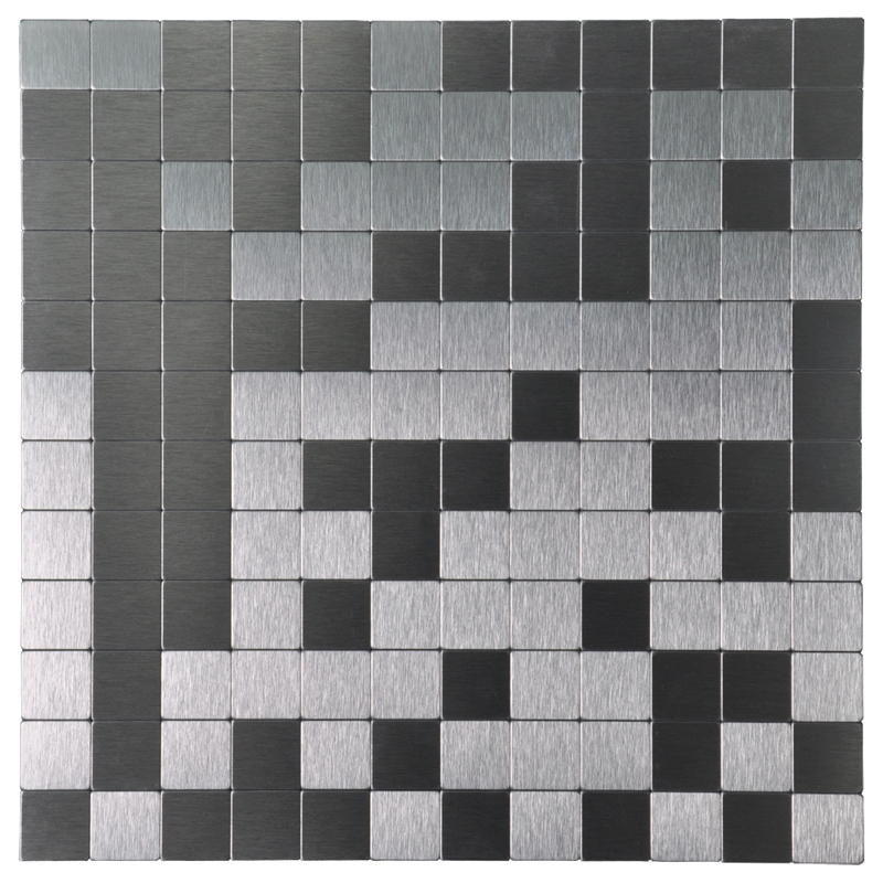 A16011 - 10 Sheets Peel & Stick Metal Mosaic Aluminum Tile Silver Square 12x12In