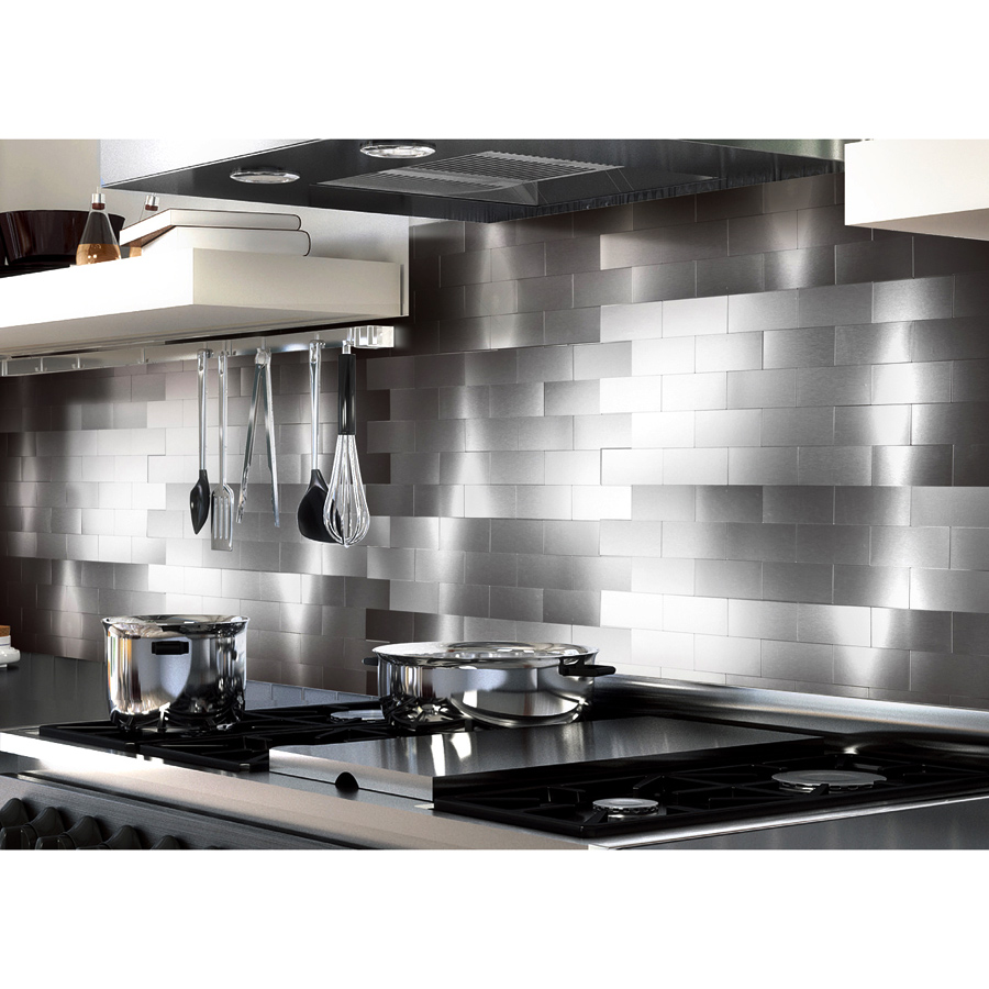 Peel And Stick Backsplash Tiles For Kitchen 3 X 6 Brushed Aluminum Mosaic
