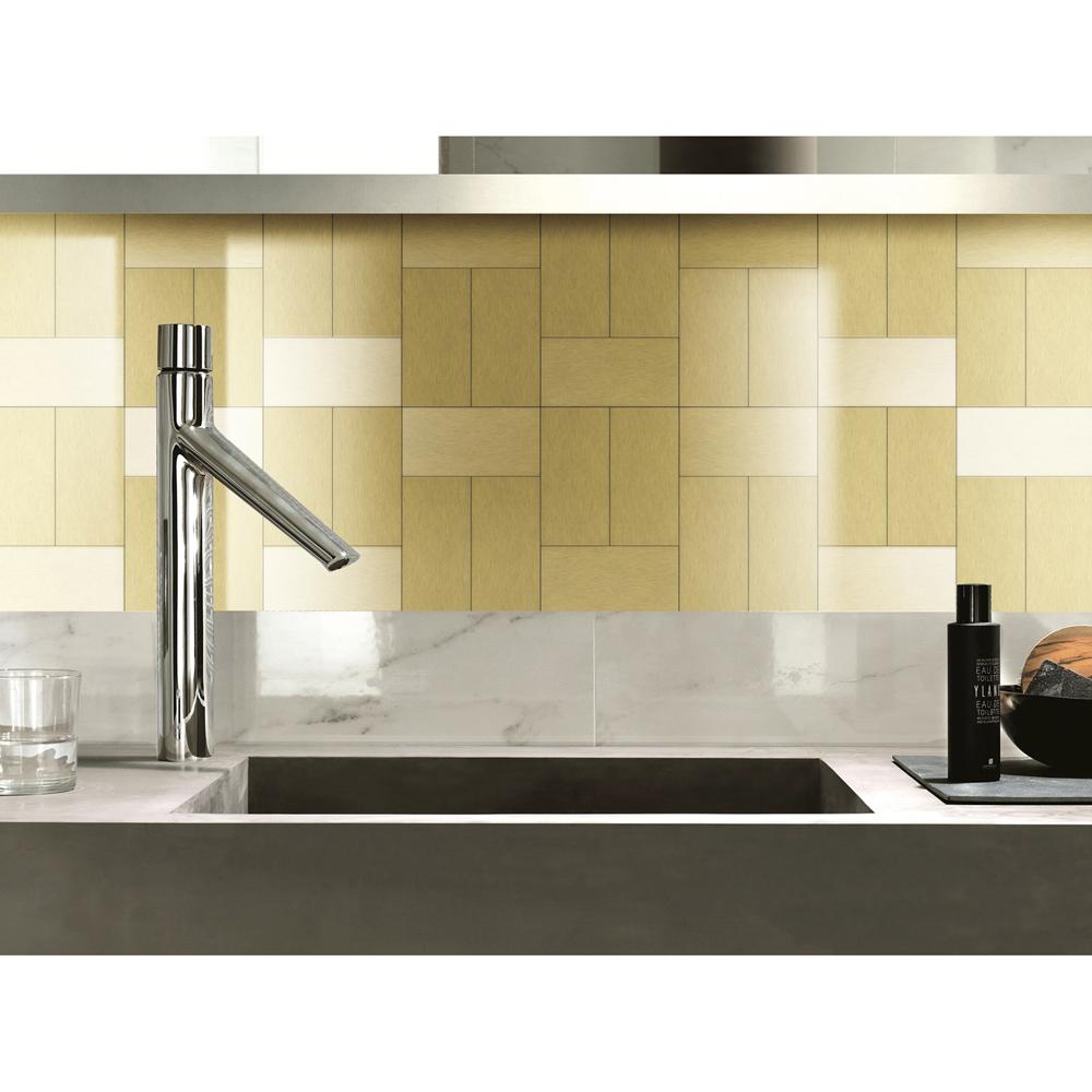 100 pieces peel stick aluminum brushed backsplash tiles 3 x 6 a16021p100 a16022p100 a16023 dailygadgetfo Image collections