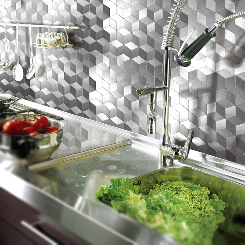 A16061 - Peel & Stick Metal Backsplash for Kitchen, Cubic Silver, Set of 10