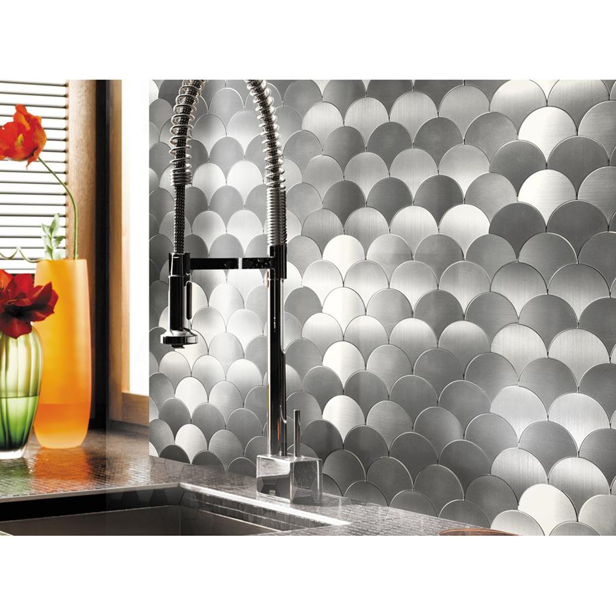 A16071 - Peel and Stick Tile Metal Backsplash, Silver Umbrella, Set of 10