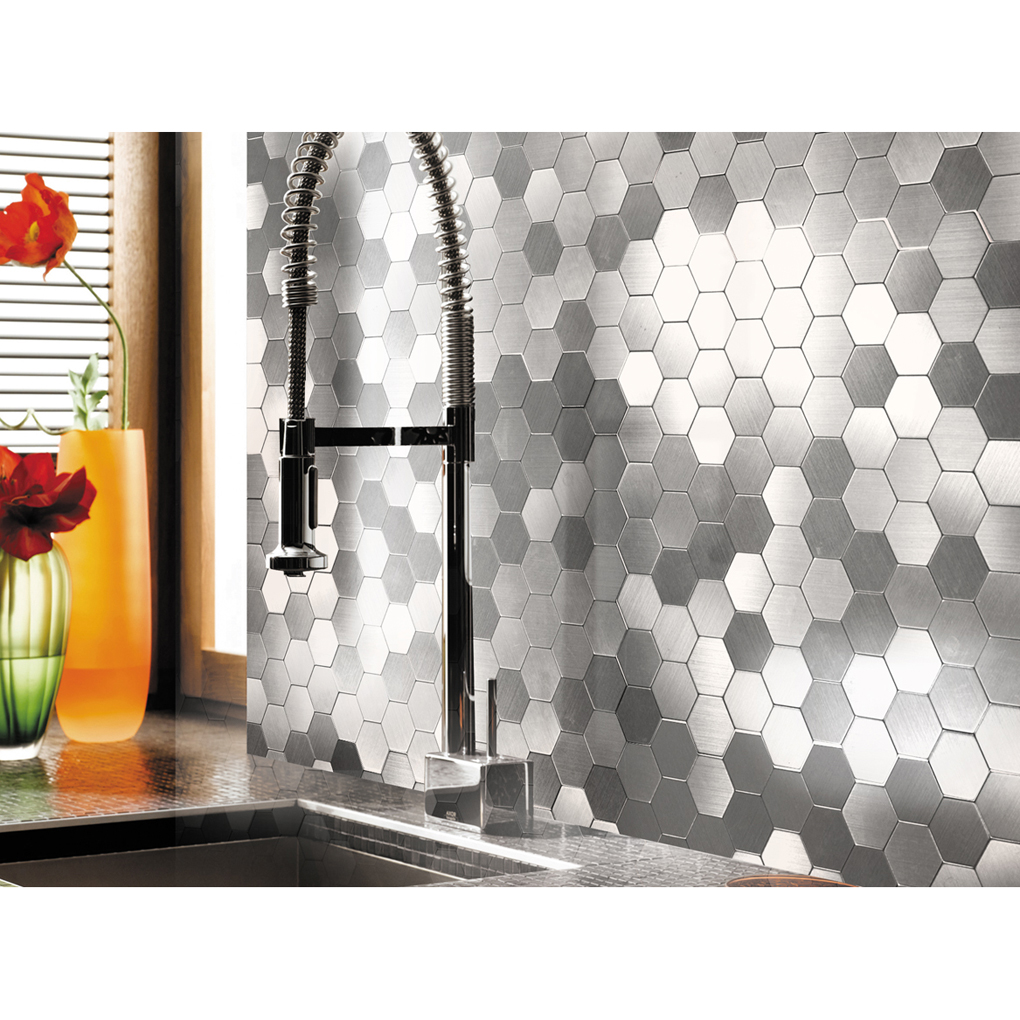 A16081 Self Adhesive Metal Tiles 10 Pcs Hexagon Peel N Stick Backsplashes Tiles 12x12in