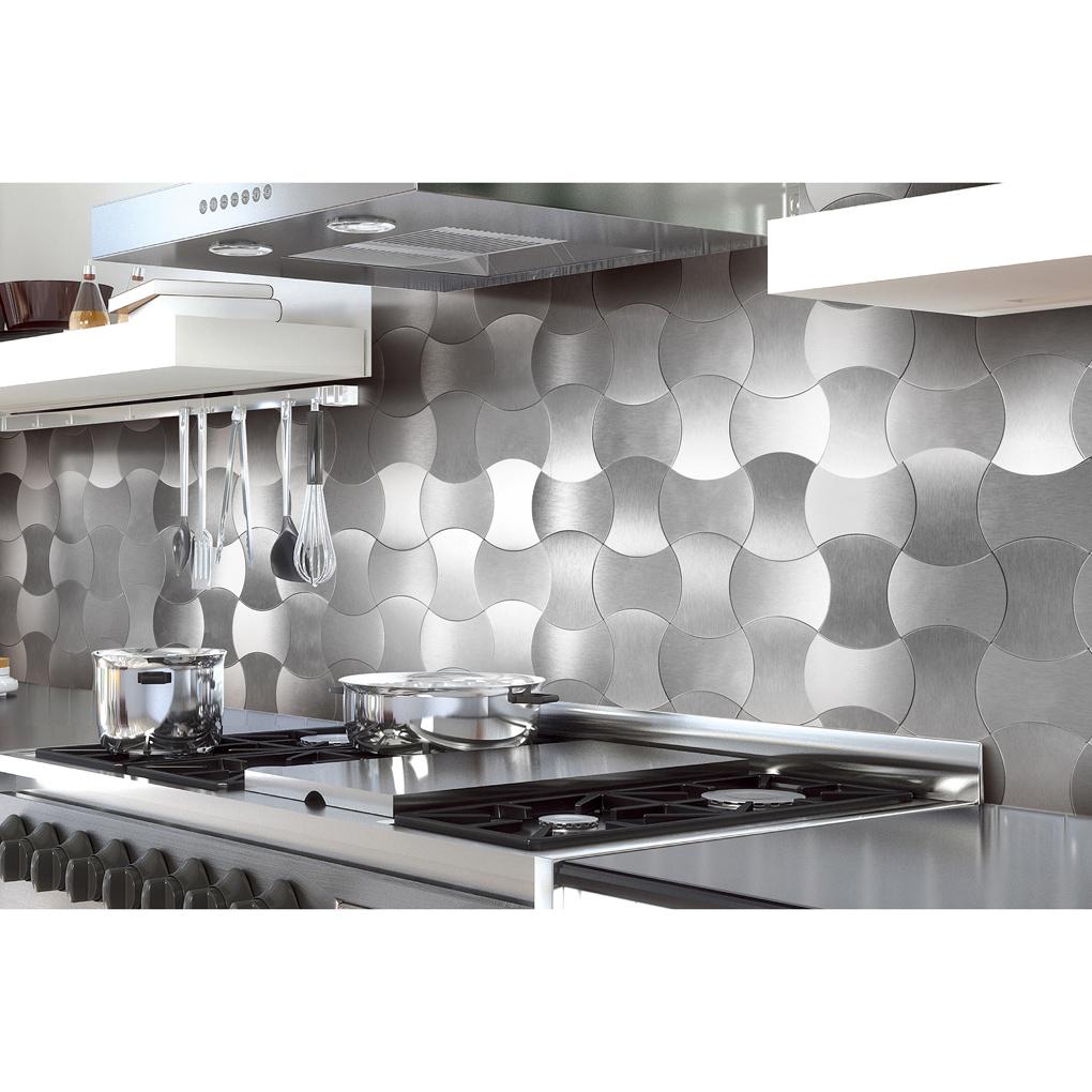 A16091 L Stick Metal Decorative Wall Tile Silver Weaver Set Of 10