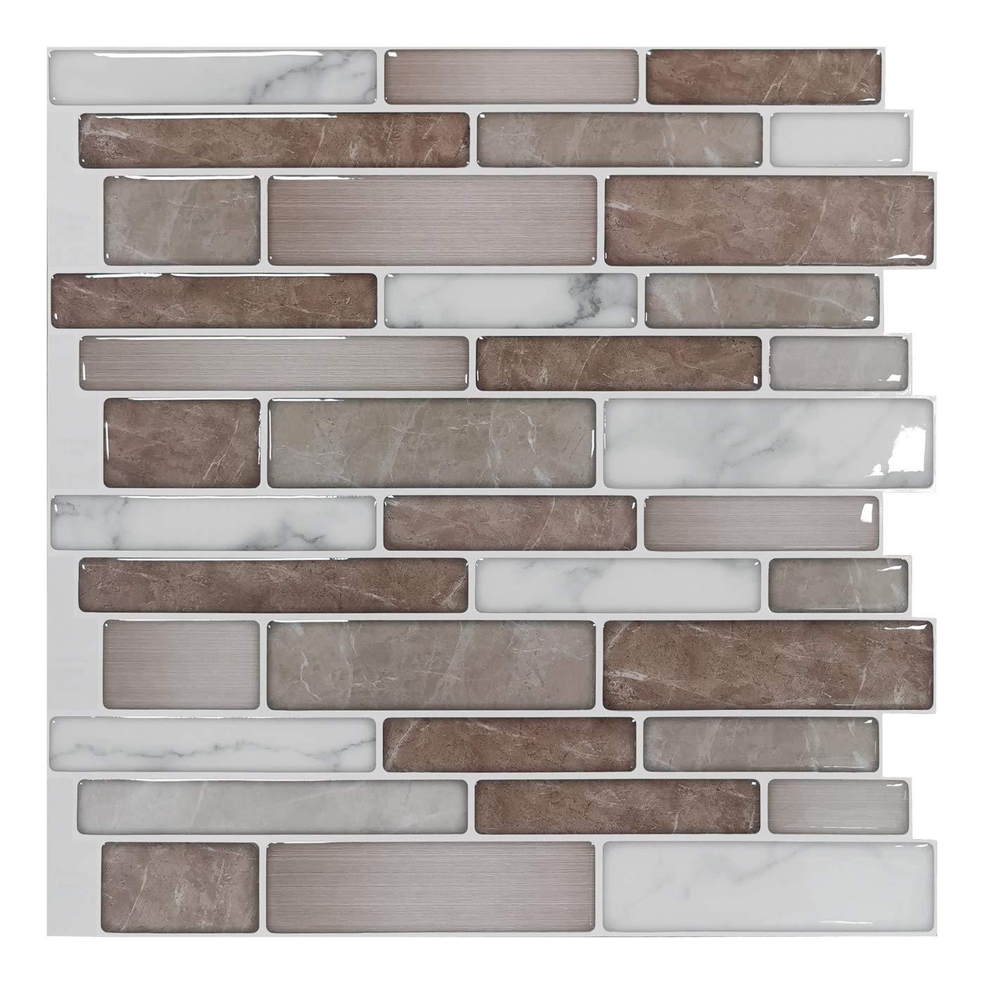 A17013 - 10-Sheet Premium Stick On Kitchen Backsplash Tiles, 12