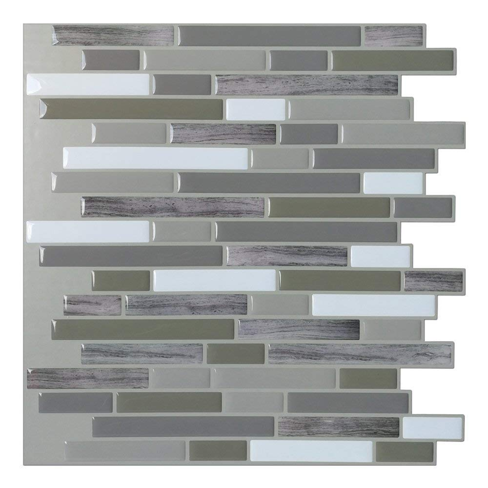 A17038 - Peel and Stick Backsplash Tiles for Bathroom or Kitchen, Set of 6
