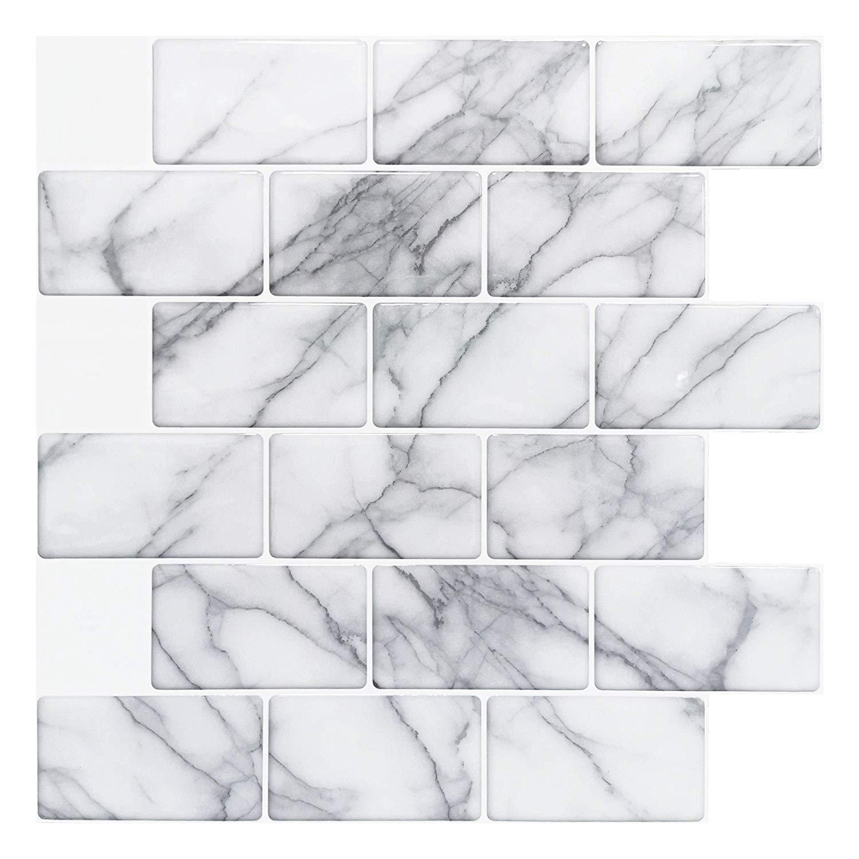 Art3d 10-Sheet Peel and Stick Backsplash Tile for Kitchen Grey Marble