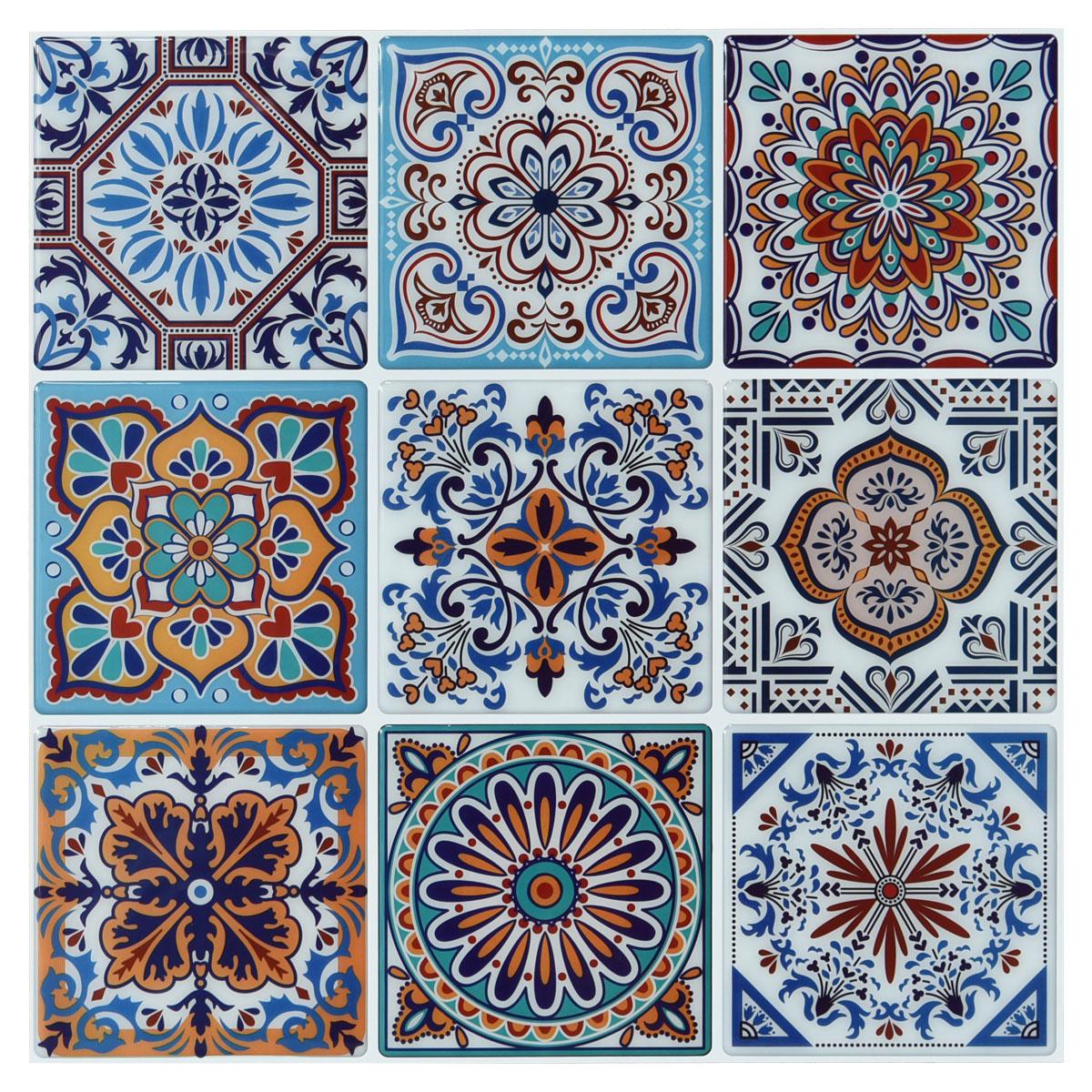 10 Sheets Peel and Stick Backsplash Tile for Kitchen Colorful Talavera Mexican Tile