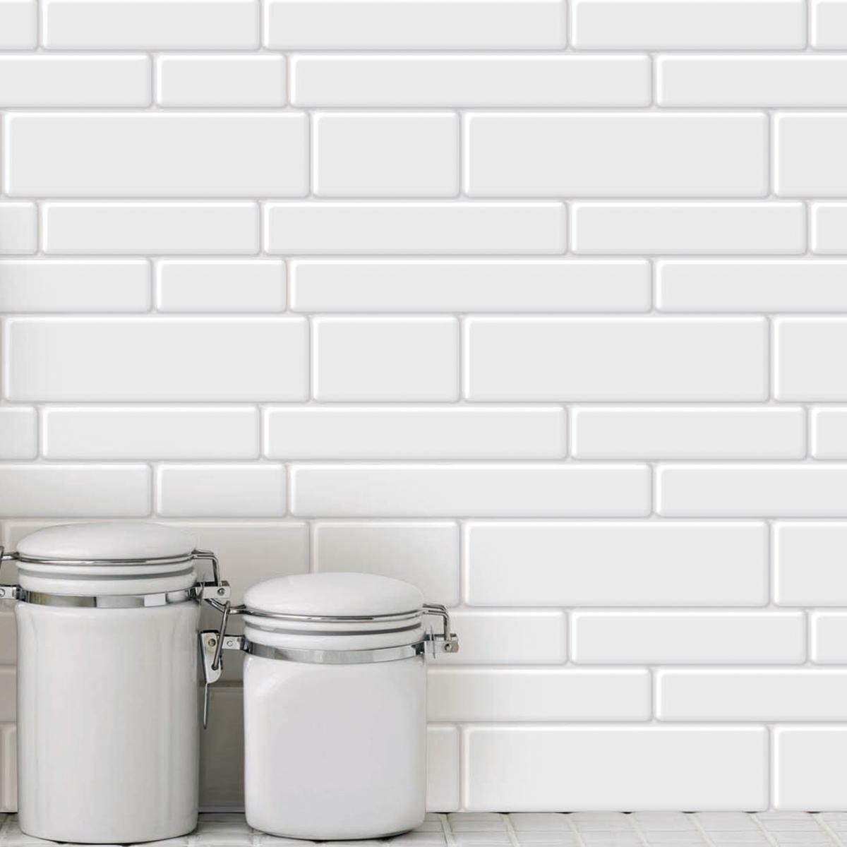 10-Sheet Peel and Stick Tile Backsplash for Kitchen Shelf-Adhesive Wall Sticker Tile