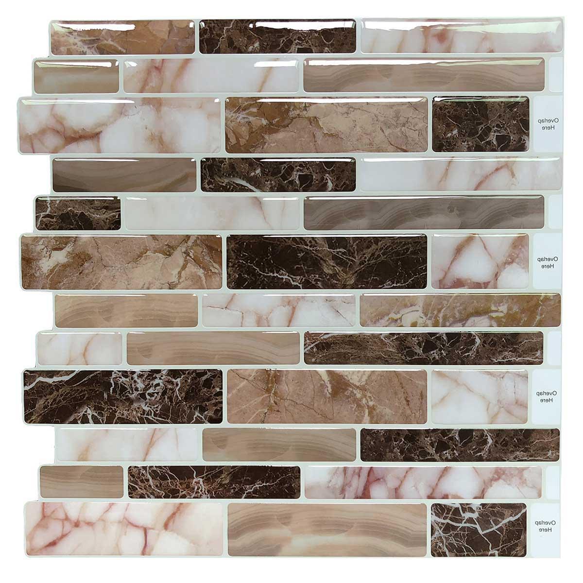 Art3d 10-Sheet Peel and Stick Tile Backsplash for Kitchen in Marble Design Tile