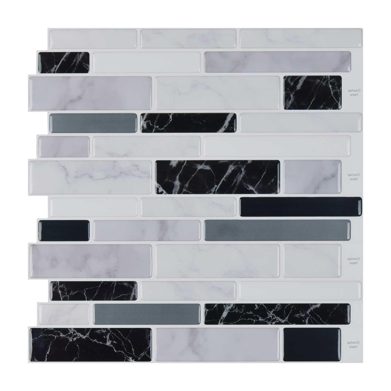 Art3d 10 Sheets Peel and Stick Tile Backsplash for Kitchen in Marble Design