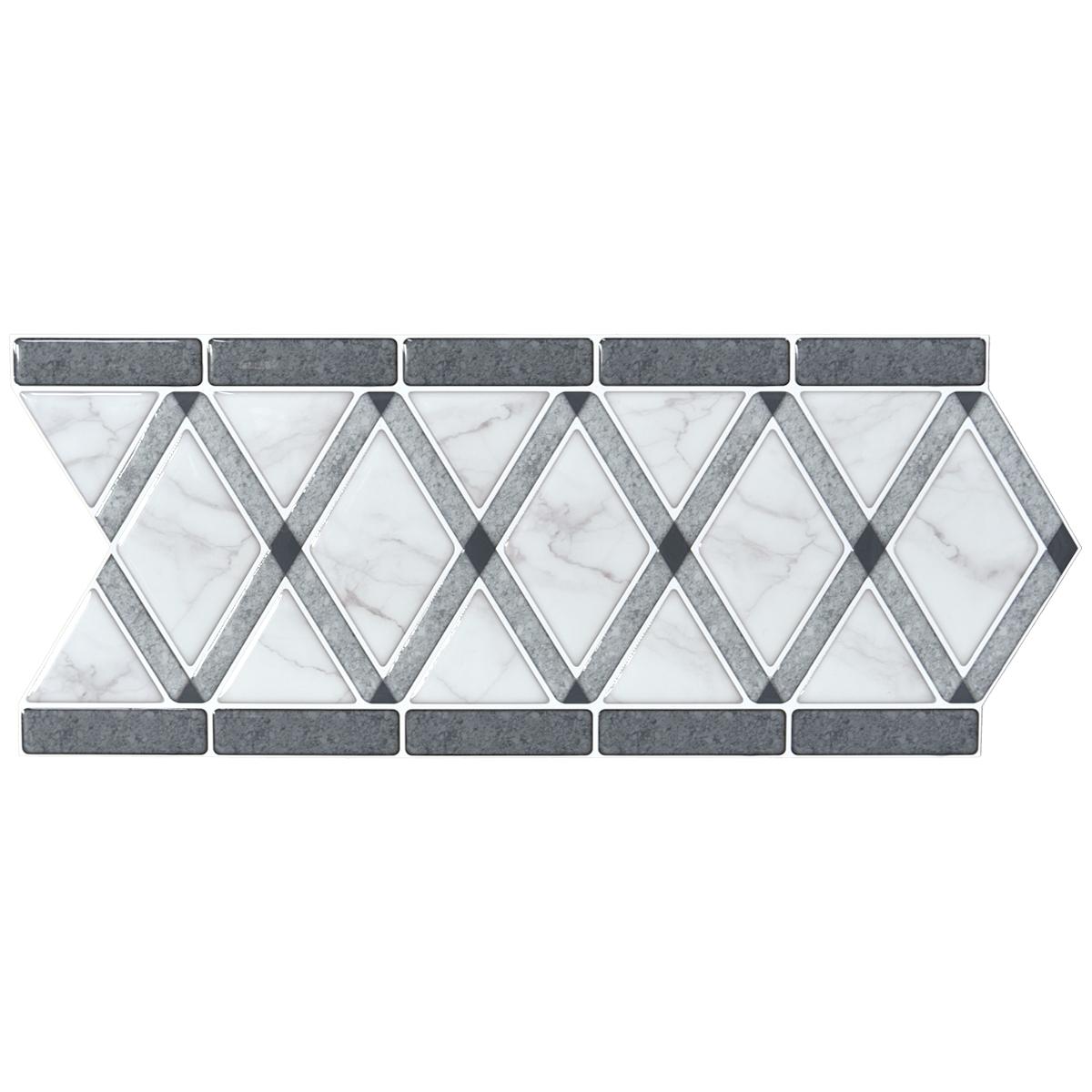 A17101 - Tile Borders Peel and Stick Backsplash, Removable Backsplash for Kitchen, Bathroom, Set of 10, 12.4