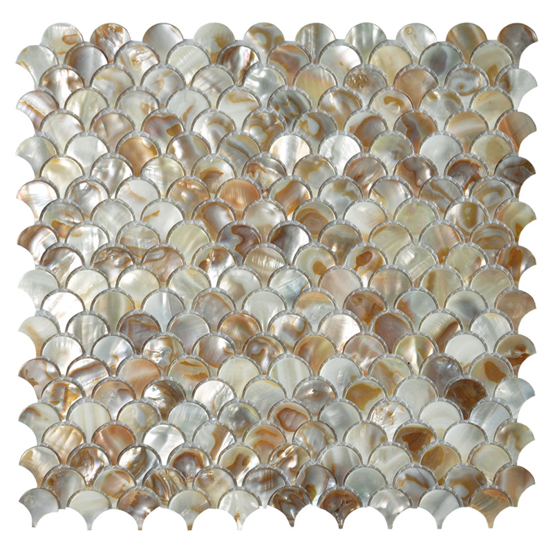 Mother of Pearl Colorful Bathroom Wall Panels Fan Shaped Fish ...