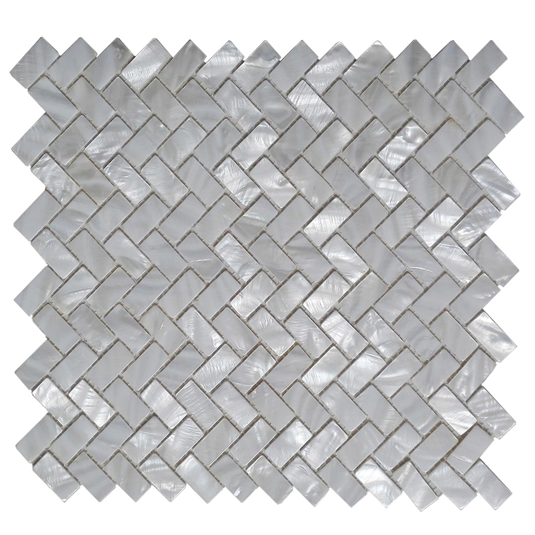 A18017 - White Mother of Pearl MOP Shell Tile for Shower Wall, 12