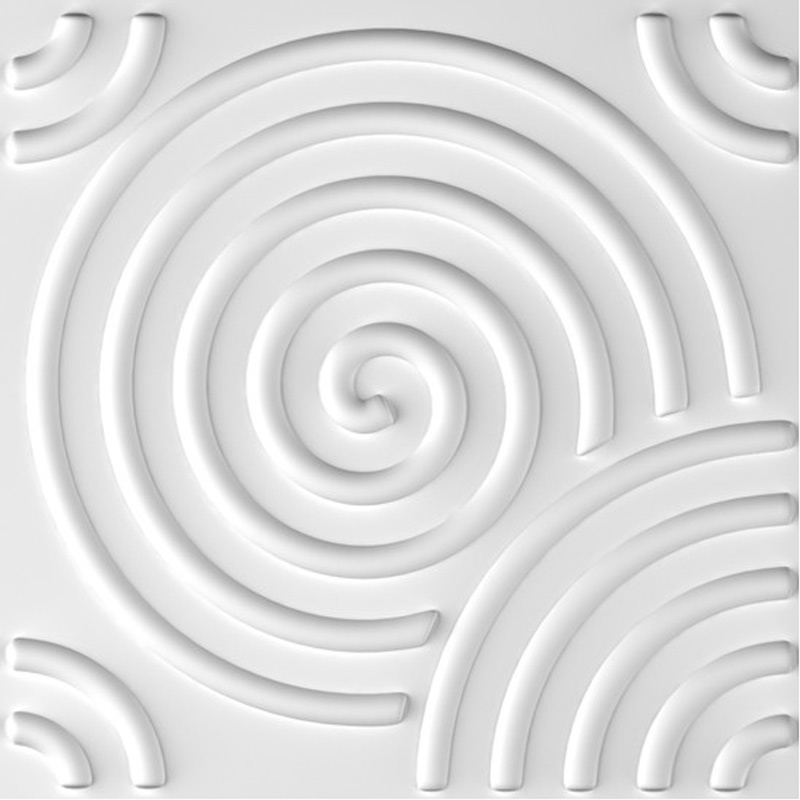 A21054 - Paintable 3D Texture Wall Panels, White Vortex, 12 Tiles 32 SF