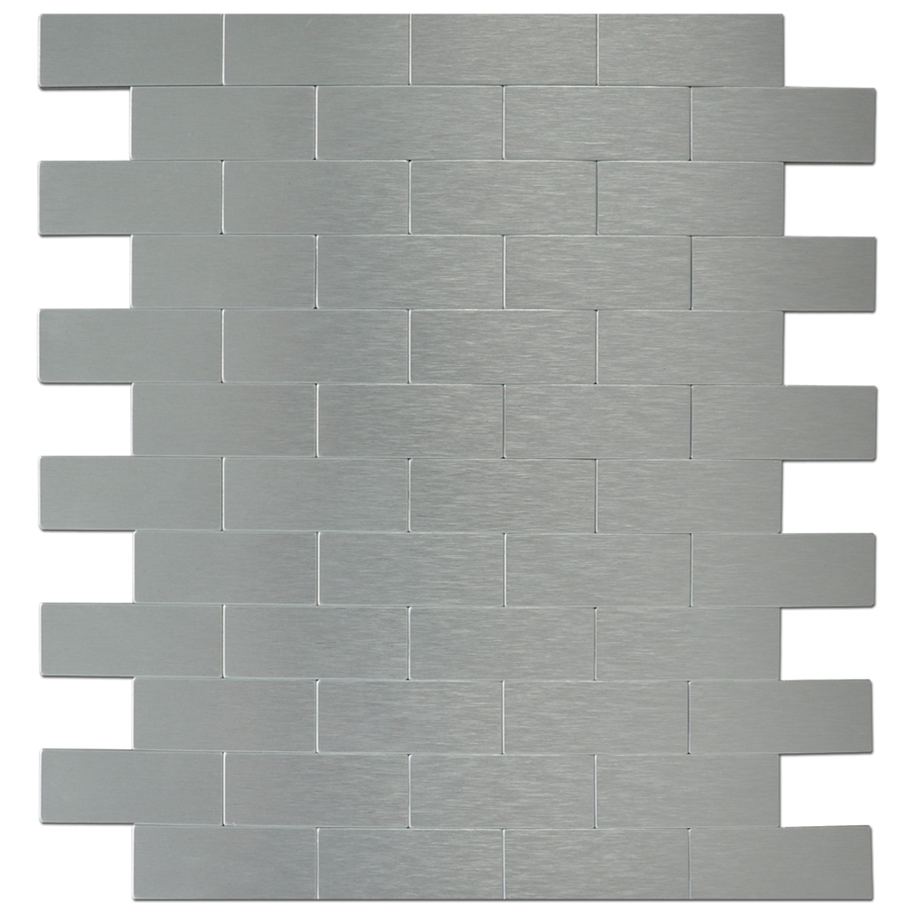 A16002 Peel Stick Mini Subway Aluminium Tiles Backsplashes 12 X 12 Metal Mosaic Tiles