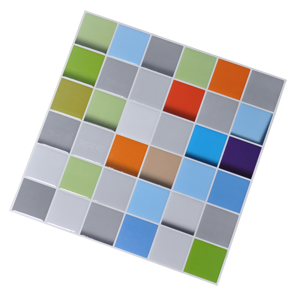 Vinyl Peel and Stick Tiles, Colorful 3D Square Design, Set ...