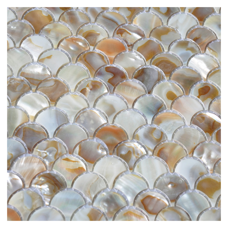 A18012   Mother Of Pearl Colorful Bathroom Wall Panels Fan Shaped Fish  Scale Mosaic Tile Honed 5.8 Sq Ft Pack Of 6 Part 96