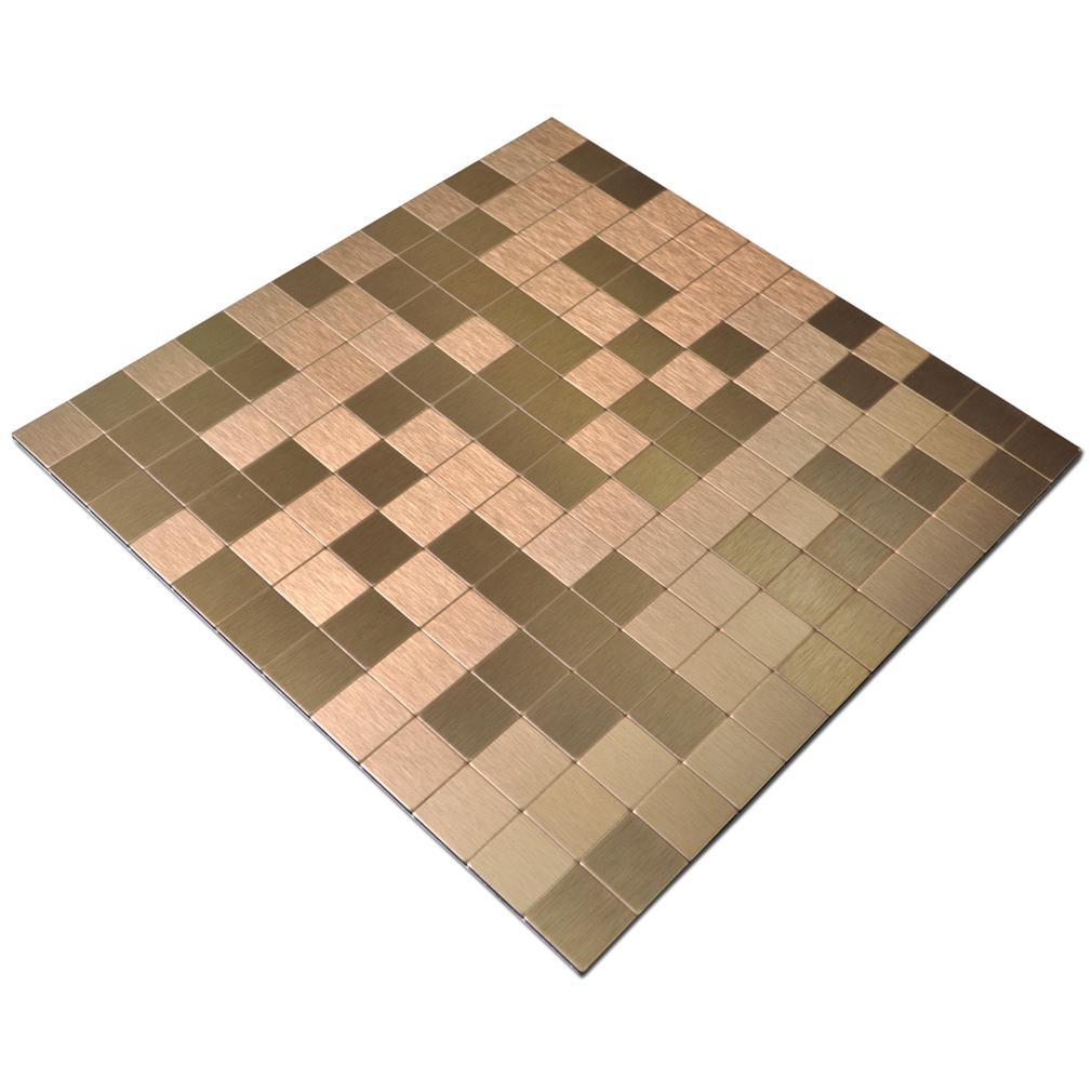 Peel & Stick Metal Tiles for Kitchen Backsplashes, Copper Brushed ...
