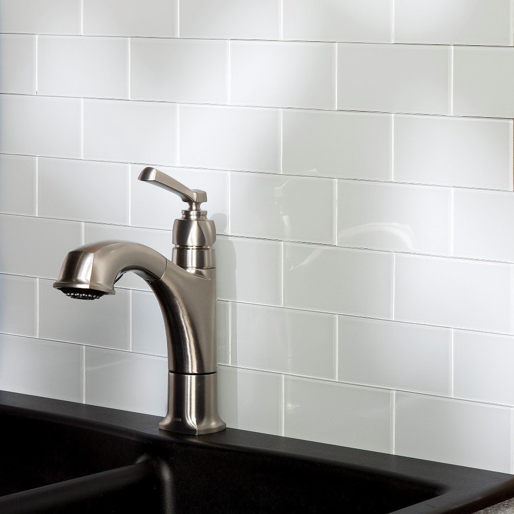 32-Piece Peel and Stick Backsplash Glass Tile for Kitchen or ...