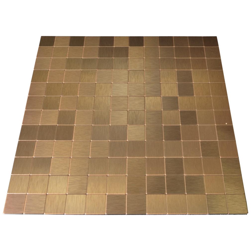 peel stick metal tiles for kitchen backsplashes copper brushed a16001 peel stick metal tiles for kitchen backsplashes 25mmx25mm copper color aluminum brushed mosaic