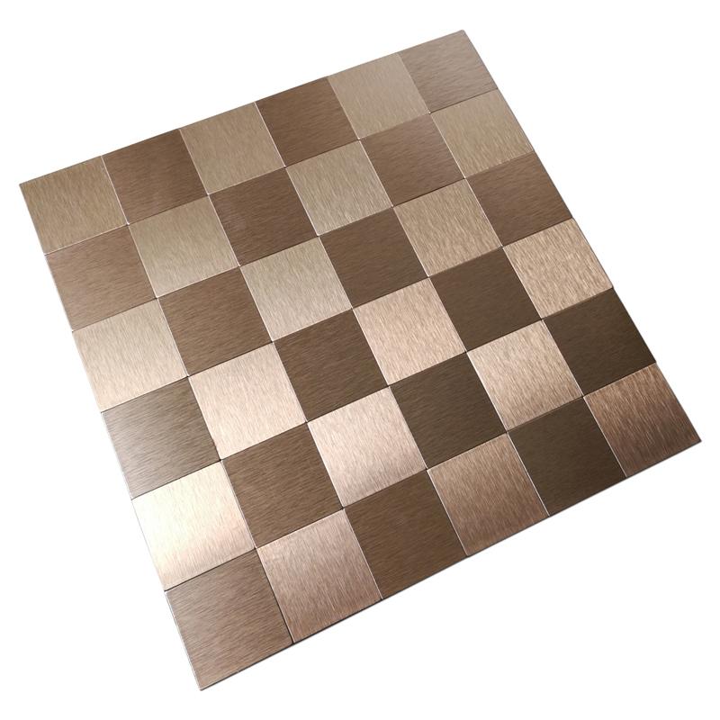 bronze metal mosaic 10 pcs peel n stick backsplashes tiles 12x12in