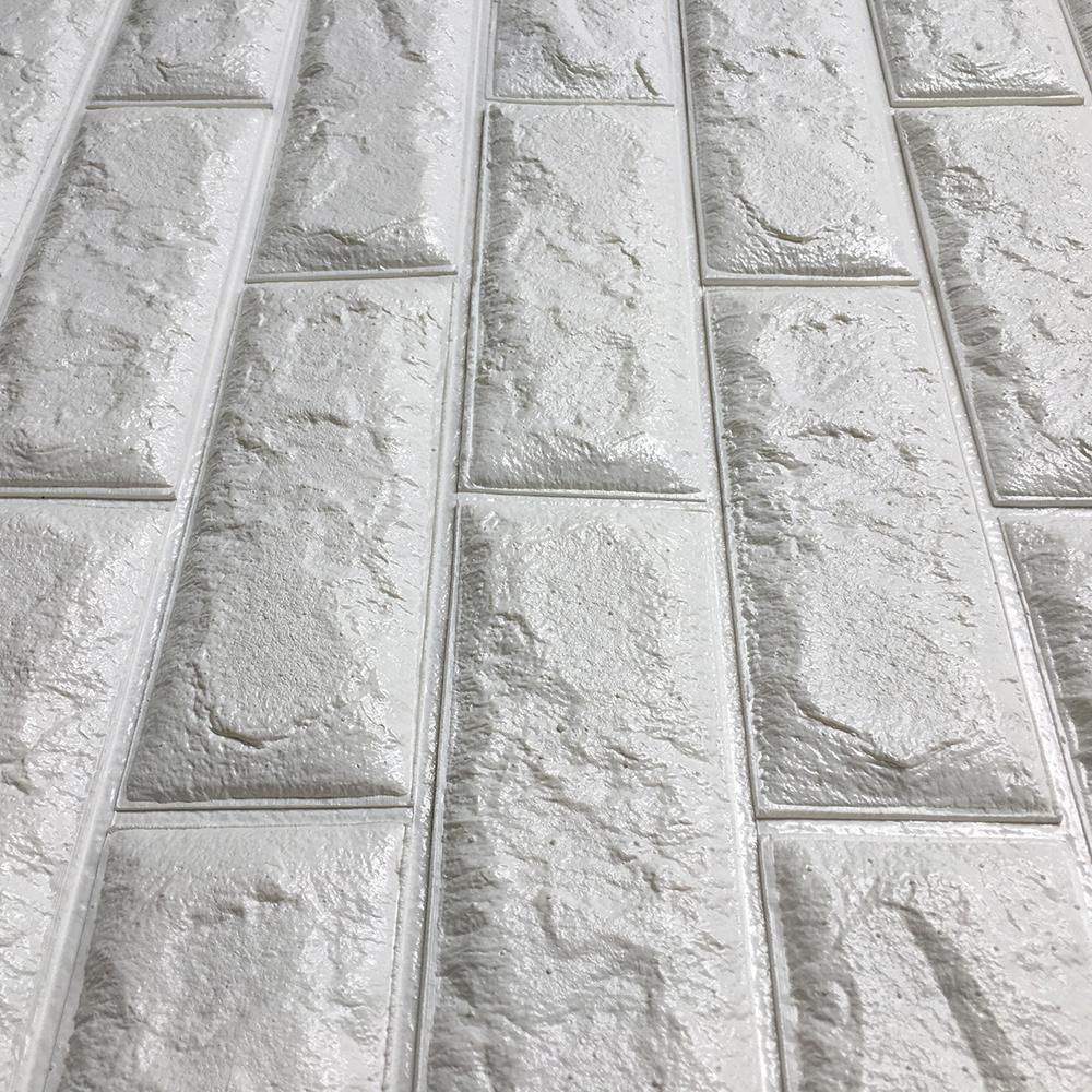 Peel amp Stick 3D Wall Panels White Brick Wallpaper 26