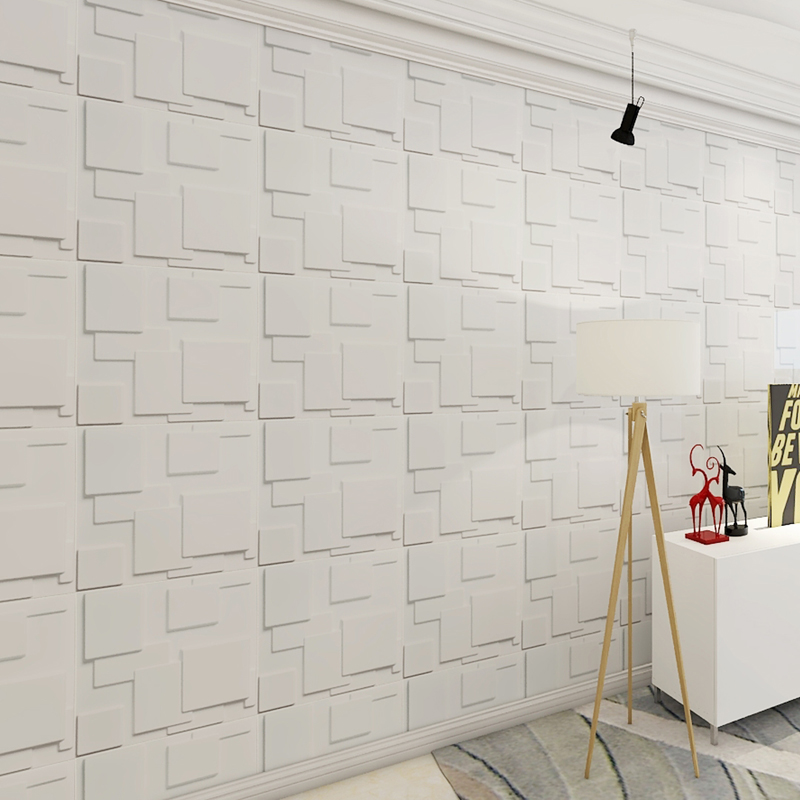 Decorative Tiles 3D Wall Panels, White Squares, 12 Tiles 32 SF