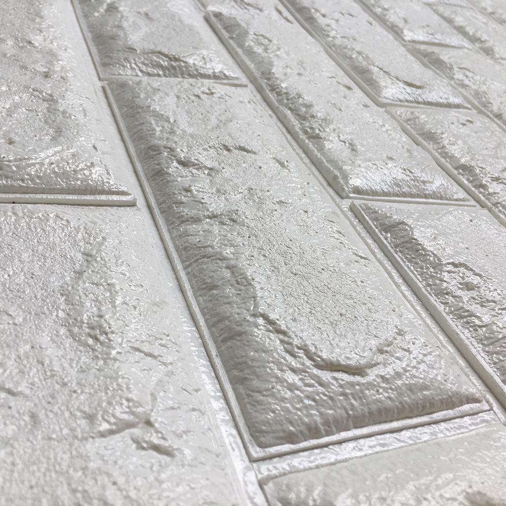 Peel & Stick 3D Wall Panels White 3D Brick Wallpaper, 2.6\' x 2.3\'