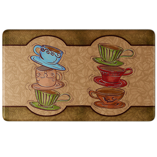 Anti-Fatigue Comfort Kitchen Mat, Coffee Cup Party Style 18