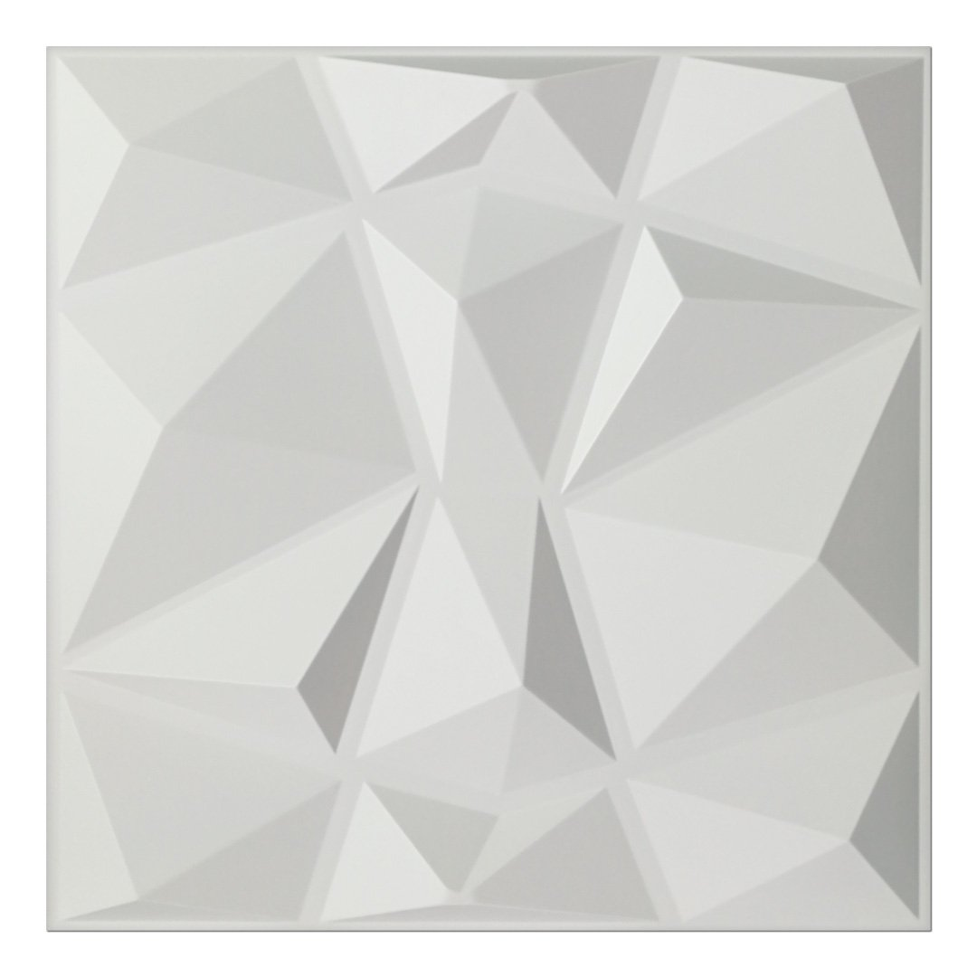 A10038x500 - Textures 3D Wall Panels White Diamond Wall Design, 12 Tiles 32 SF