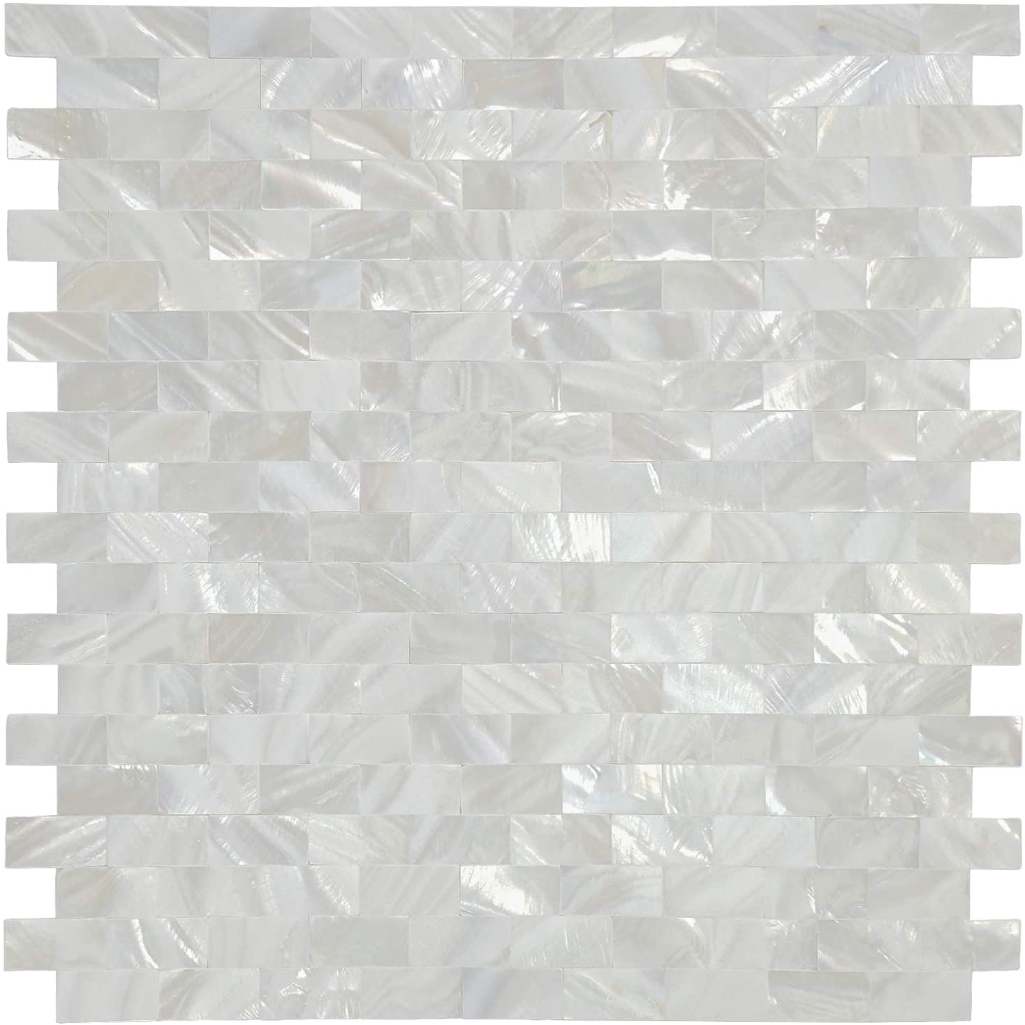 White MOP Shell Mosaic Tile for Kitchen Backsplashes, Set of 10