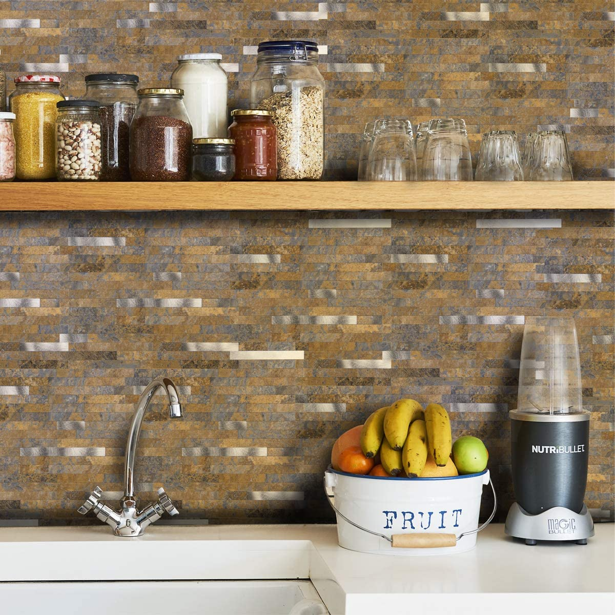 A16615-Art3d 10-Sheet Peel and Stick Stone Backsplash Tile for Kitchen, Bathroom - Volakas White Embellished with Metal Silver