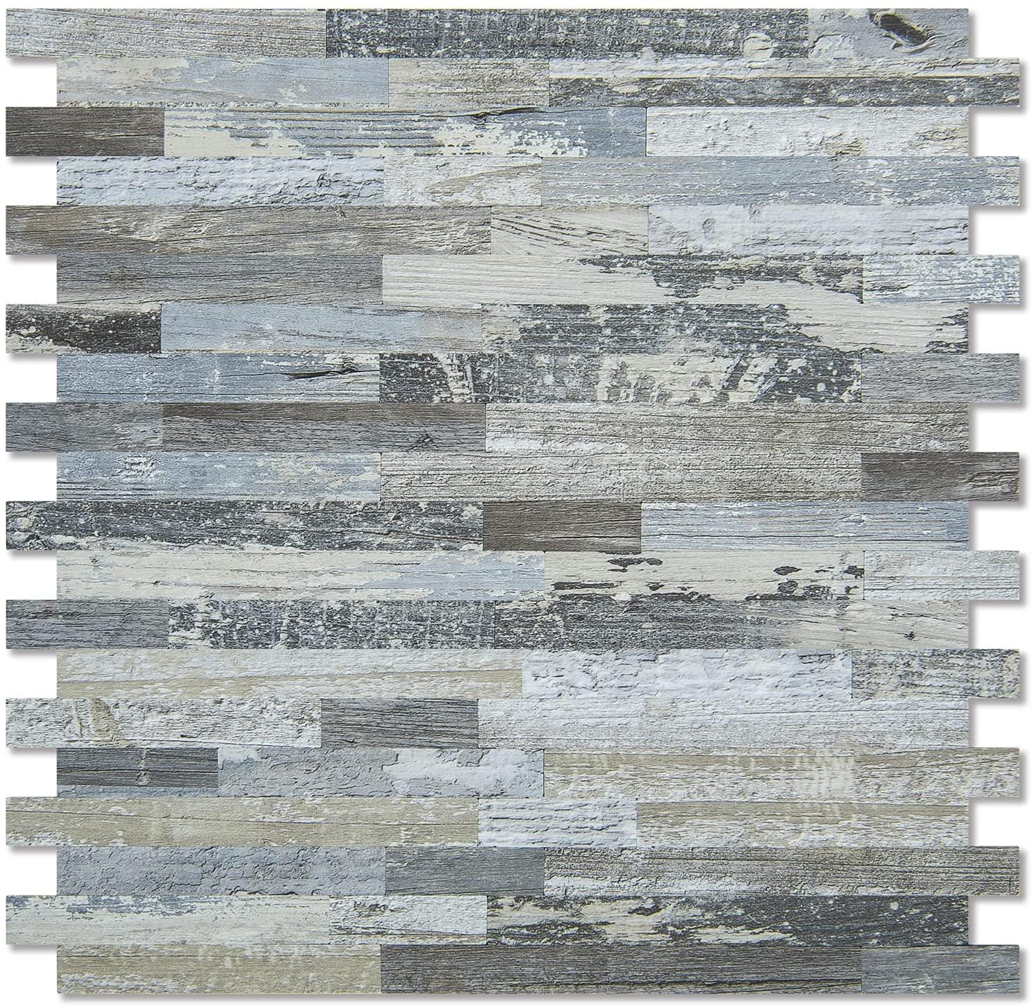 A16616-Art3d 10-Sheet Peel and Stick Stone Backsplash Tile for Kitchen, Bathroom - Volakas White Embellished with Metal Silver