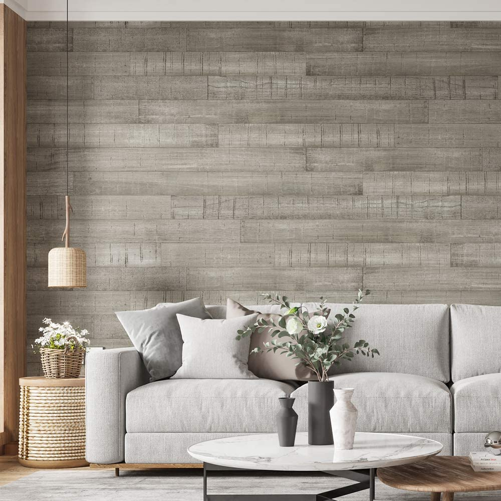 A15505 -Art3d Barnwood Natural Wood Plank Wall Mural in Blue Charcoal for Livingroom,Bedroom(16 Sq Ft)