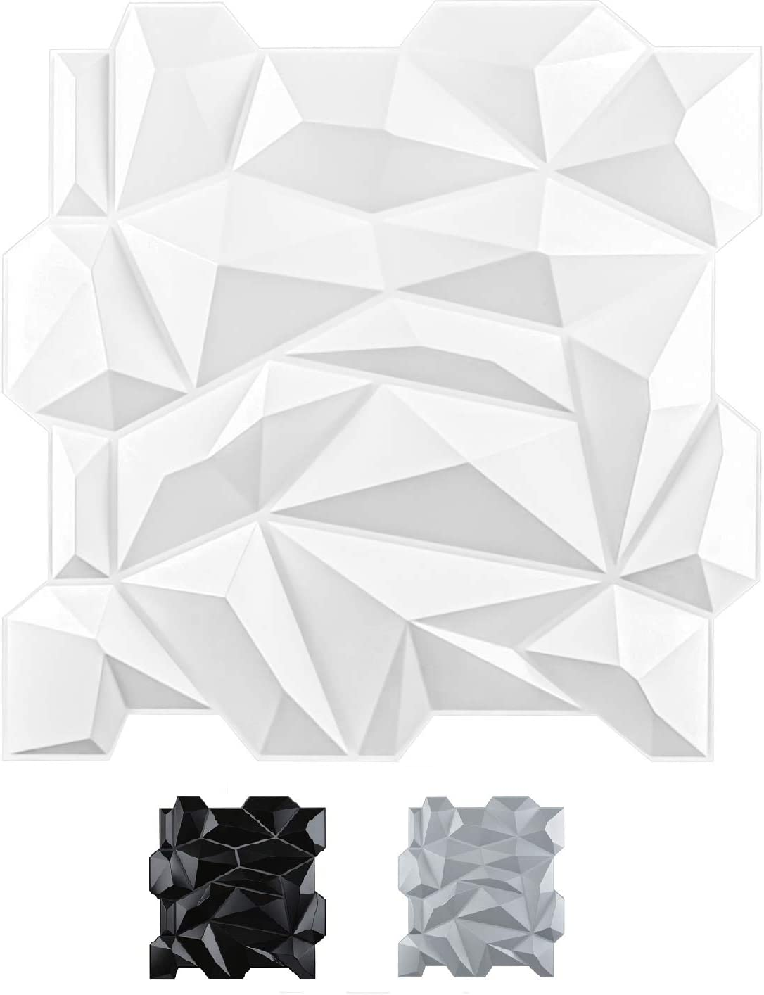 A10047  PVC 3D Diamond Wall Panel Jagged Matching-Matt White, for Residential and Commercial Interior Décor