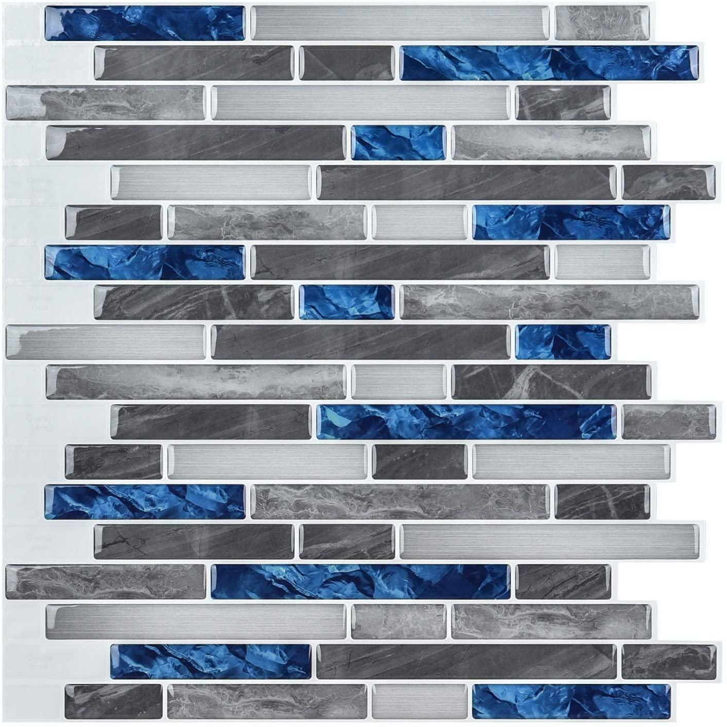 A17011 - Light 3D Mosaic Tile Peel and Stick Backsplash 10 Pieces 9.5 Sq.F